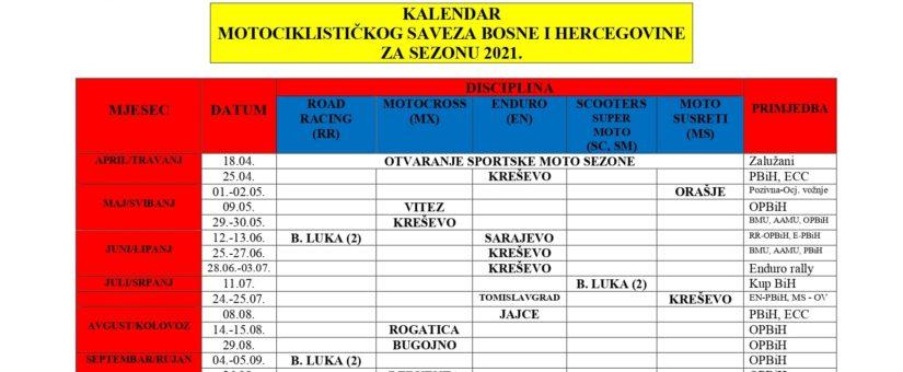 Kalendar MS BiH 2021